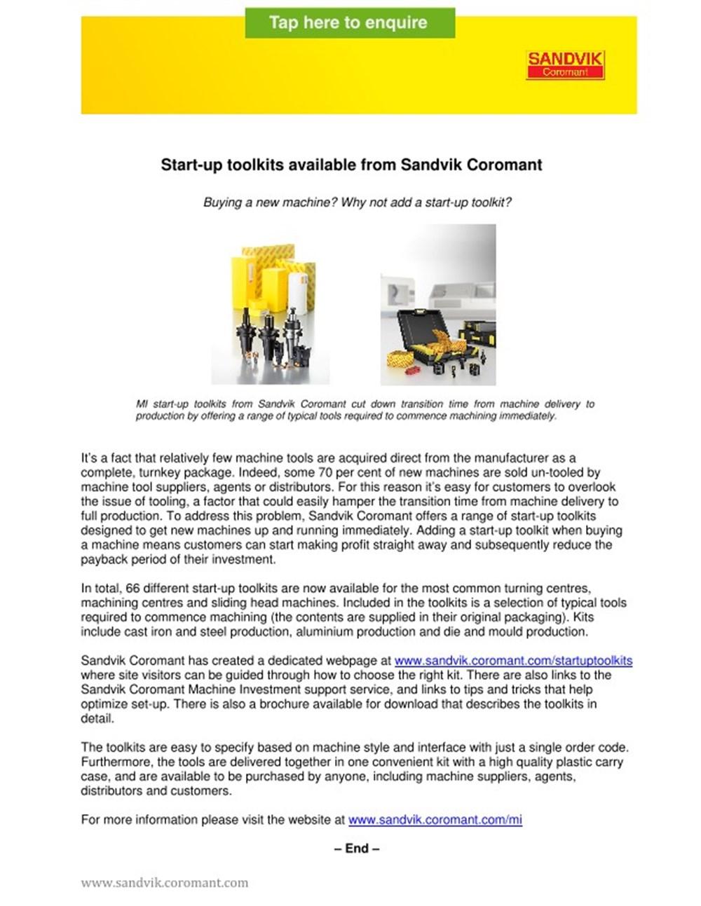Start-up Toolkits from Sandvik Coromant - Brochure