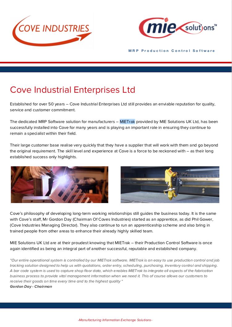 MIE Solutions: Cove Industrial Enterprises case study - Brochure